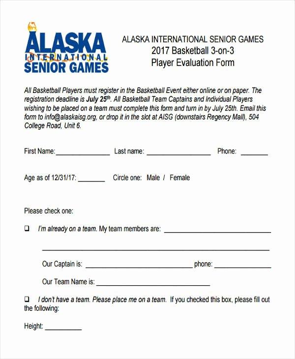 Basketball Player Evaluation form New Free 9 Basketball Evaluation form Samples In Sample Example format