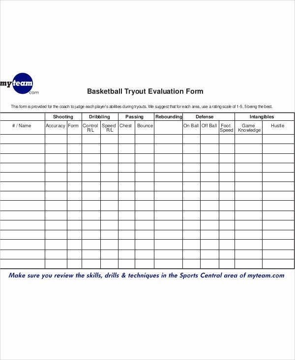 Basketball Player Evaluation form New Printable Baseball Player Evaluation form