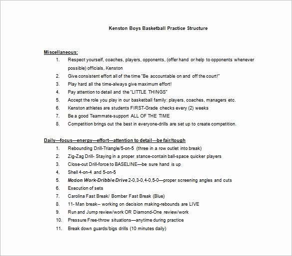 Basketball Practice Plan Pdf Unique Basketball Practice Plan Template 3 Free Word Pdf