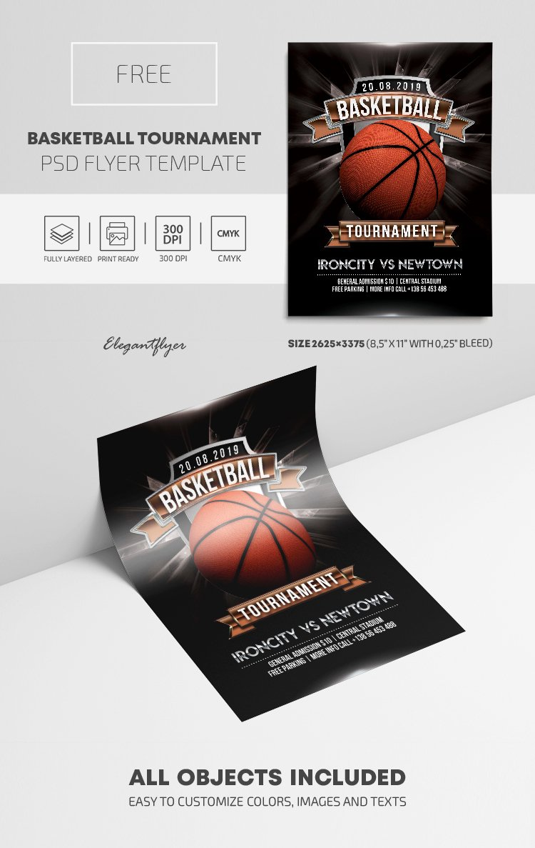 Basketball tournament Flyer Template Beautiful Basketball tournament – Free Psd Flyer Template – by Elegantflyer