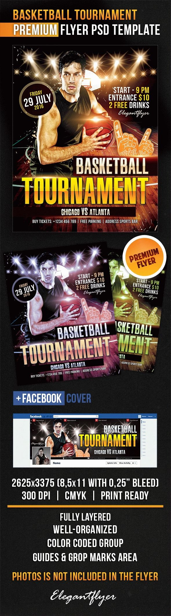 Basketball tournament Flyer Template Unique Basketball tournament – Flyer Psd Template – by Elegantflyer