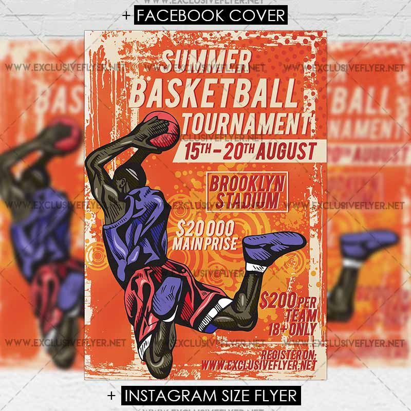 Basketball tournament Flyer Template Unique Summer Basketball tournament – Premium A5 Flyer Template Exclsiveflyer