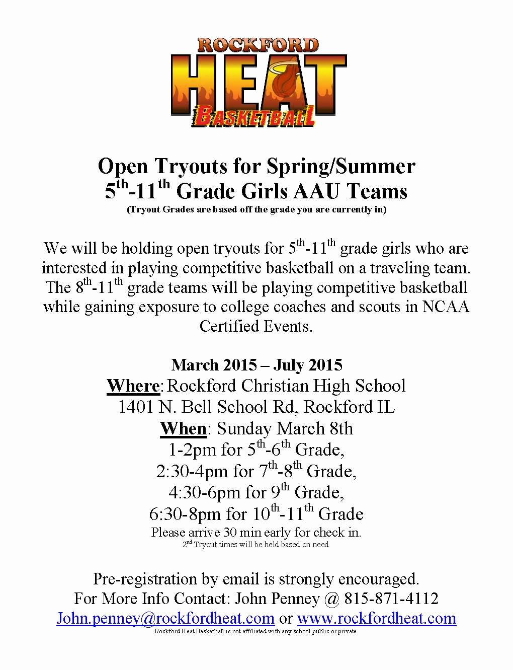 Basketball Tryout Flyer Template Unique Rockford Heat Spring Summer Tryout Dates Posted