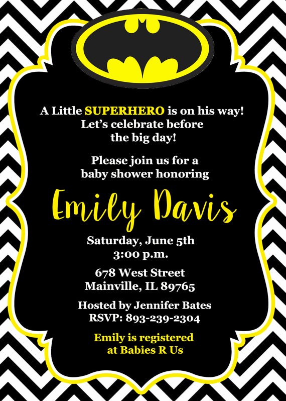 Batman Birthday Invitation Templates Beautiful Batman Baby Shower Invitation Baby Invitation by
