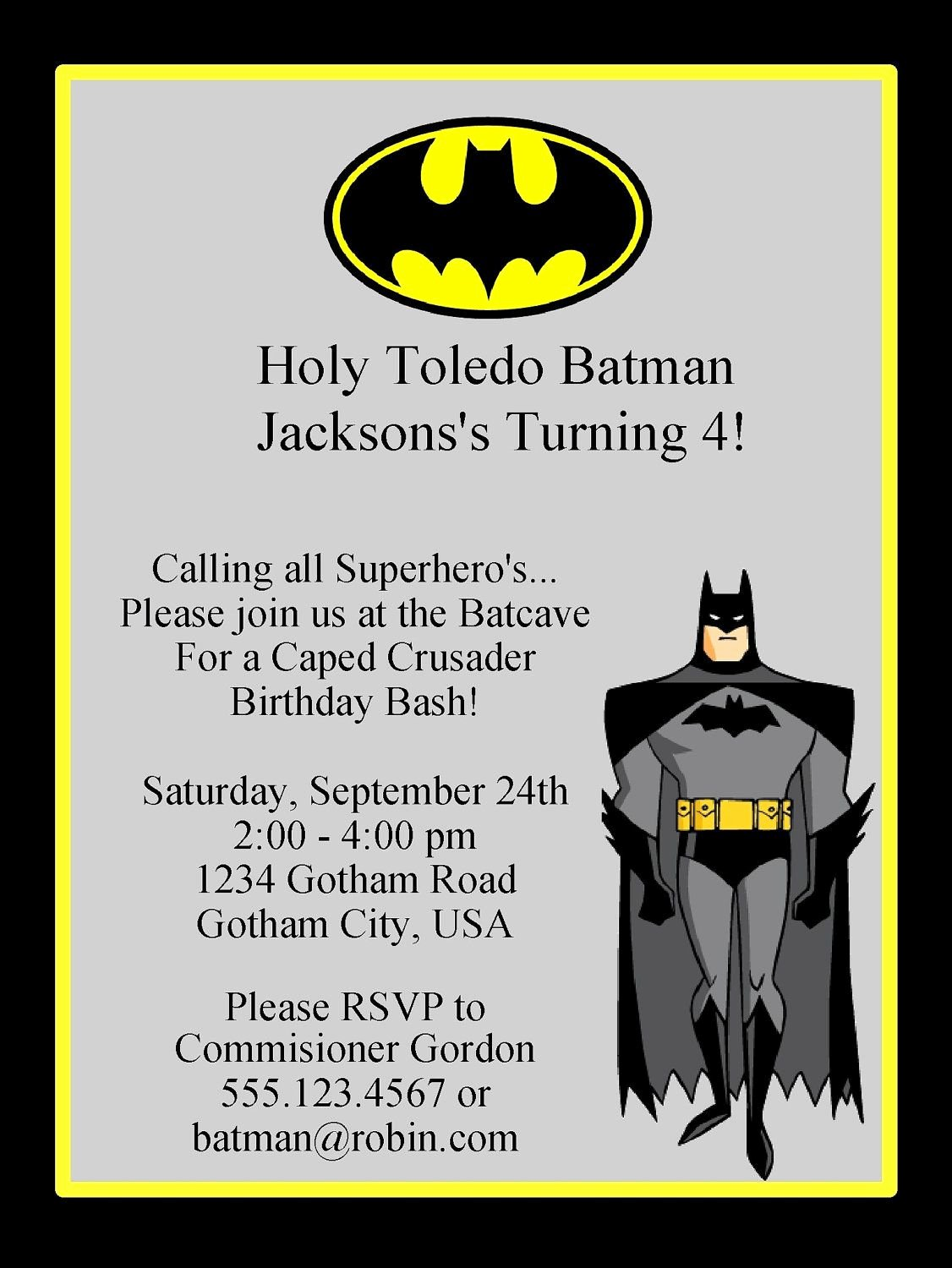 Batman Birthday Invitation Templates Inspirational Batman Birthday Invitation Printable Digital Invitation