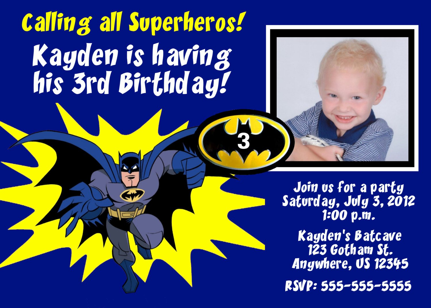 Batman Birthday Invitation Templates Inspirational Batman Superhero Birthday Invitation You Print