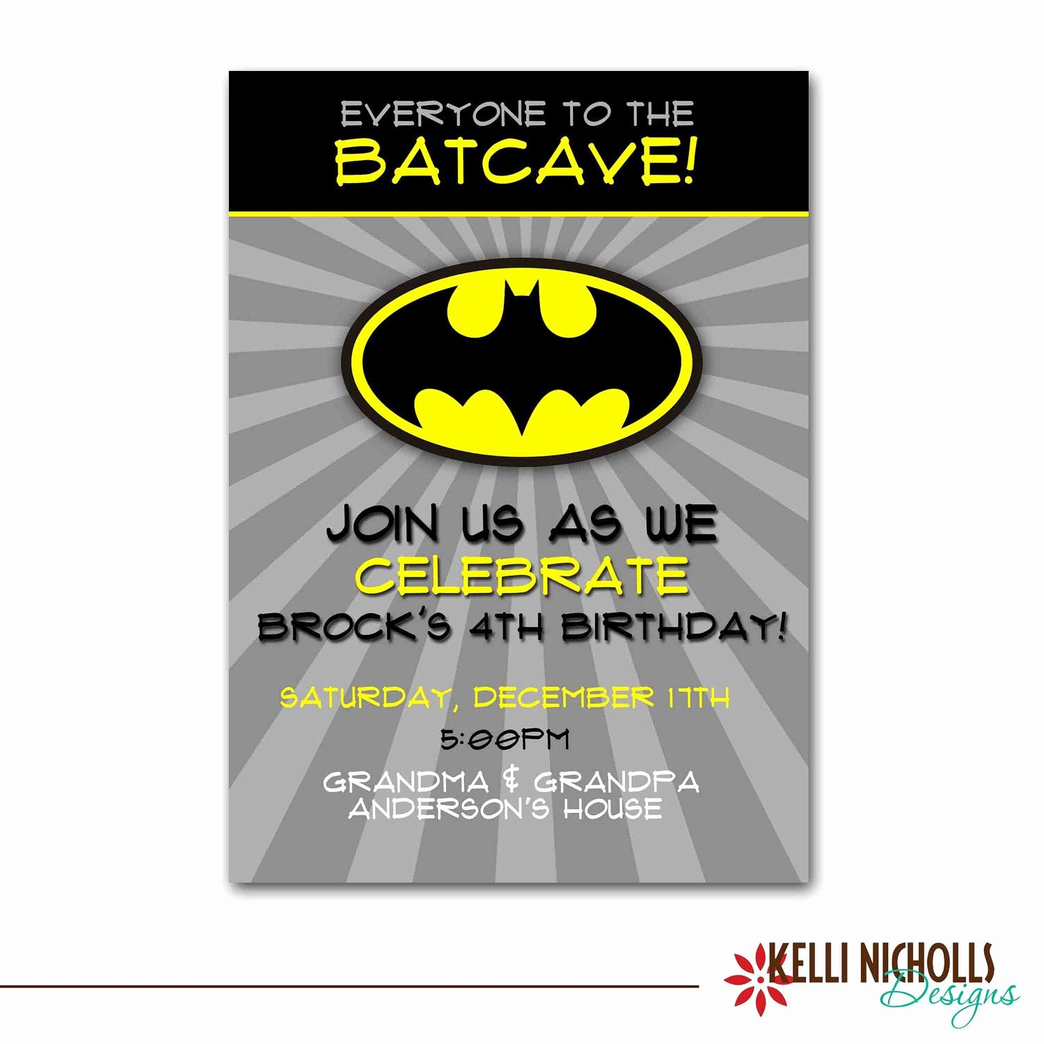 Batman Birthday Invitation Templates Luxury Batman Birthday Party Invitation Wording