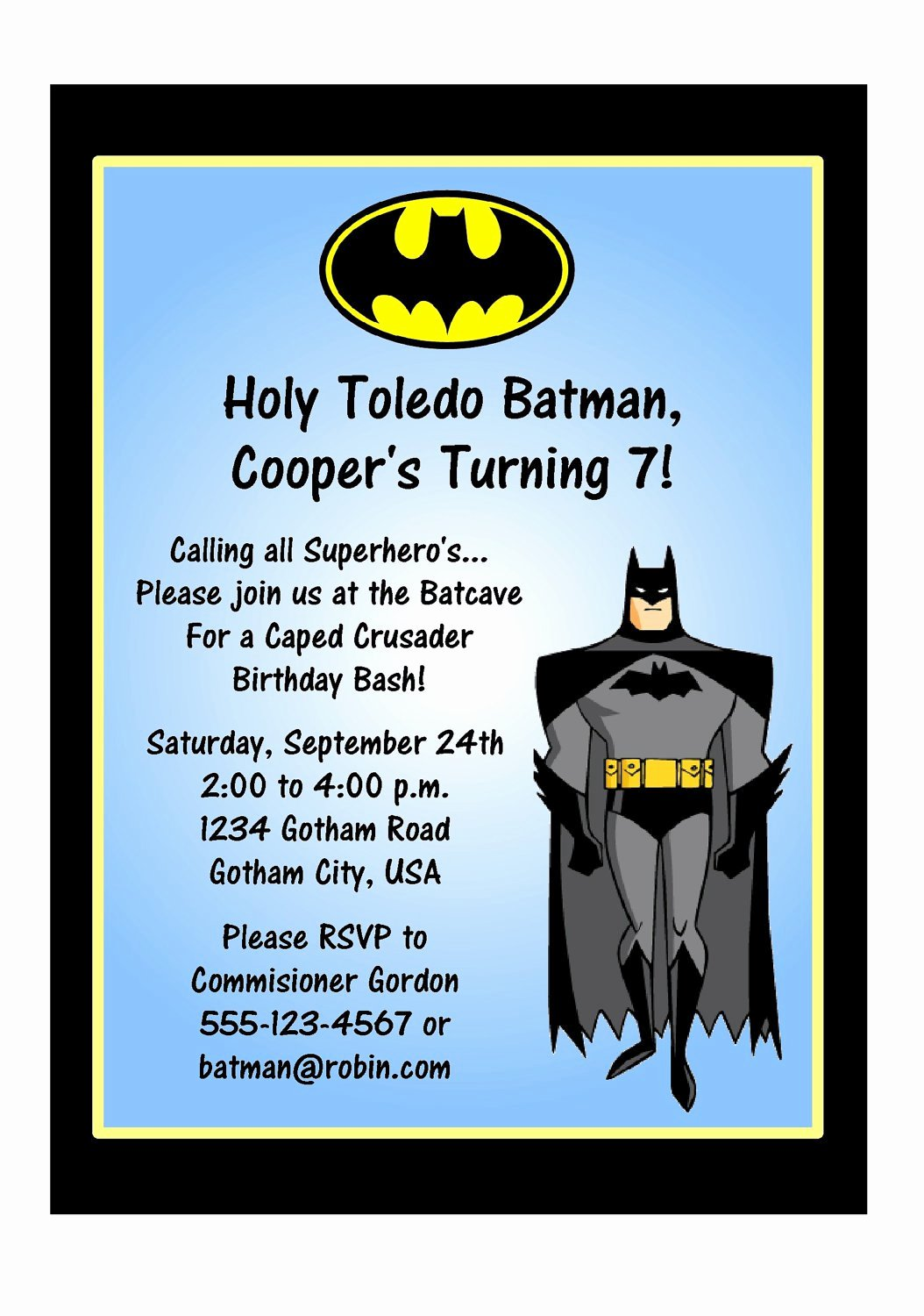 Batman Birthday Invitation Templates Unique Batman Birthday Invitation Wording