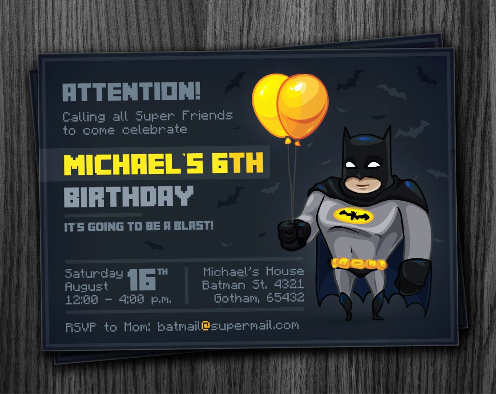 Batman Birthday Invitation Templates Unique Batman Party Invitation Printable Download