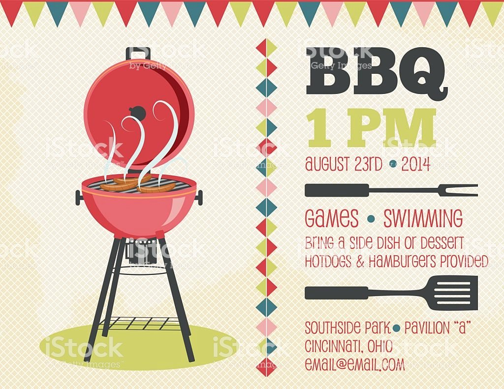 Bbq Invitation Template Word Awesome Retro Bbq Invitation Template Stock Illustration Download Image now istock