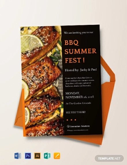 Bbq Invitation Template Word Lovely 14 Bbq Party Invitation Designs Psd Ai Word Pages Publisher