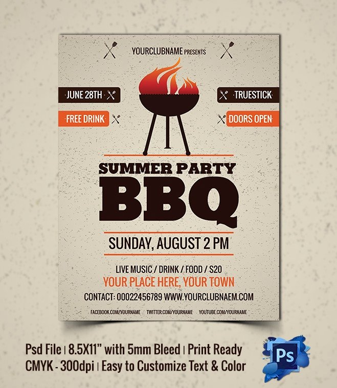 Bbq Invitation Template Word New 28 Bbq Flyer Templates Free Word Pdf Psd Eps Indesign format Download