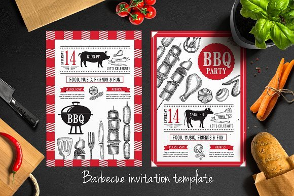 Bbq Invitation Template Word New Barbecue Invitation Template Brochure Templates On Creative Market