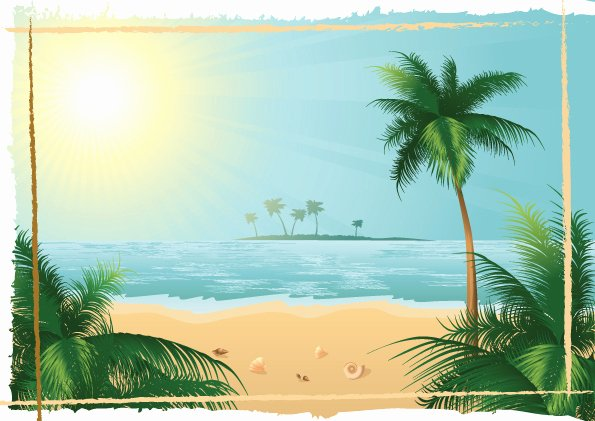 Beach Background for Photoshop Awesome Charming Sun Beach Design Vector Background 02 Free