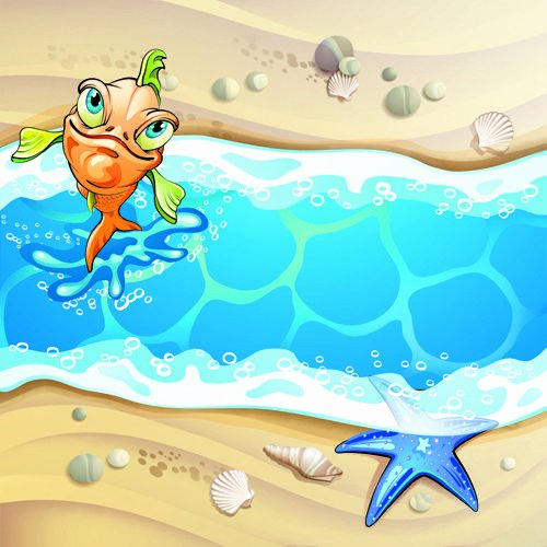 Beach Background for Photoshop Elegant Cartoon Style Summer Beach Vector Background 04 Vector Background Free