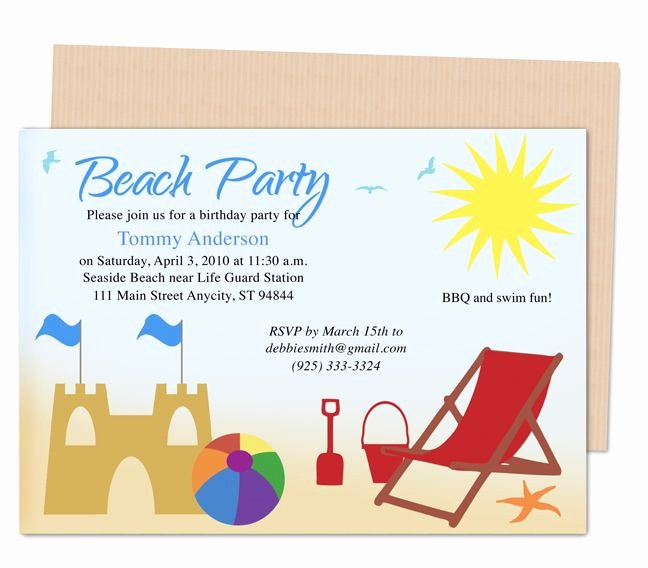 Beach Birthday Party Invitations Awesome 23 Best Images About Kids Birthday Party Invitation