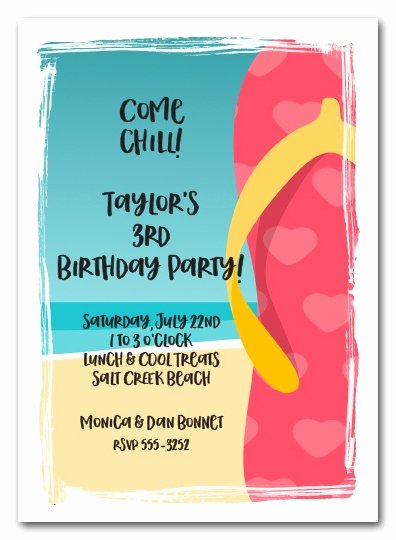 Beach Birthday Party Invitations Awesome Pink Hearts Flip Flops Beach Party Invitations