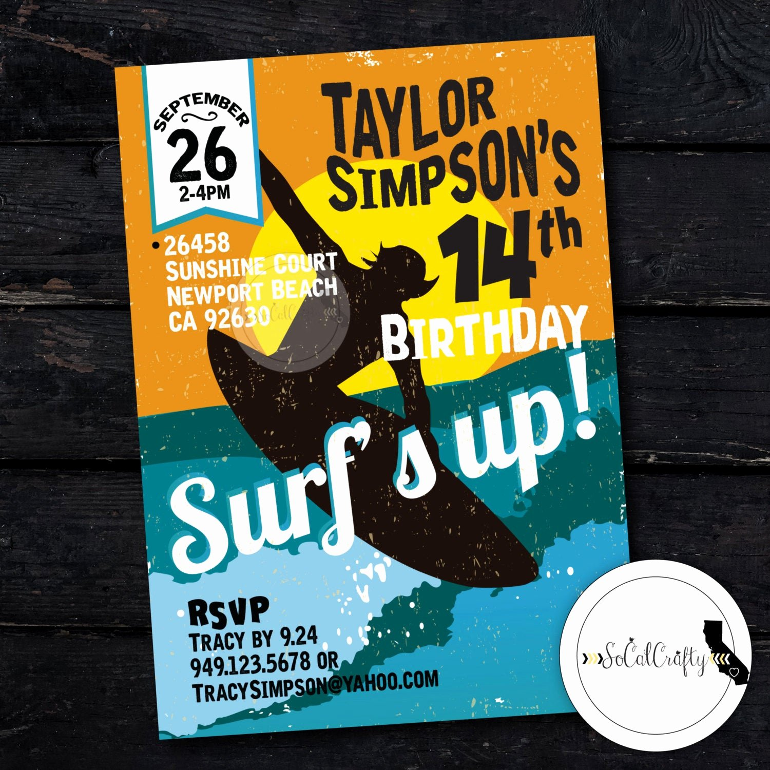 Beach Birthday Party Invitations Awesome Surf Birthday Party Invitation Beach Surfer Invite Surfing