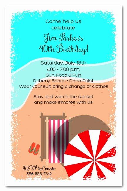 Beach Birthday Party Invitations Beautiful Chaise On the Beach Party Invitations
