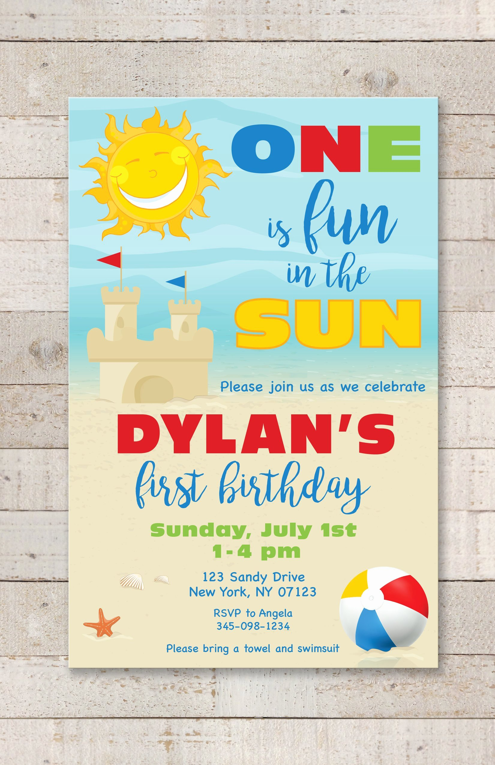 Beach Birthday Party Invitations Elegant 1st Birthday Party Invitations E is Fun In the Sun