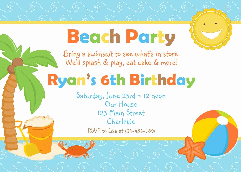 Beach Birthday Party Invitations Elegant Beach Party Birthday Invitation Pool Party by