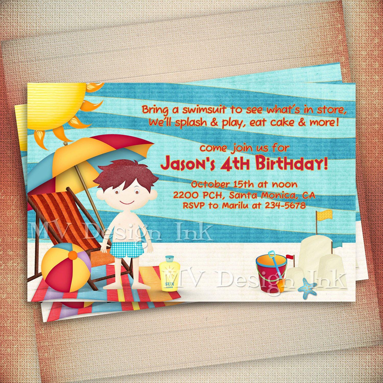 Beach Birthday Party Invitations Fresh Beach Birthday Invitation Beach Party Birthday by Mvdesignink