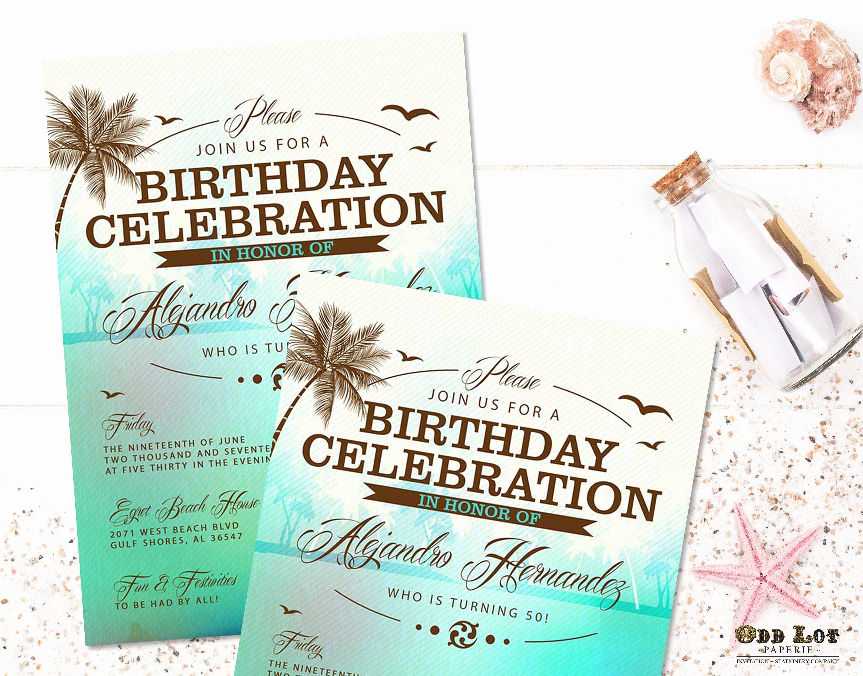 Beach Birthday Party Invitations Lovely Beach Birthday Invitations Tropical Beach Party