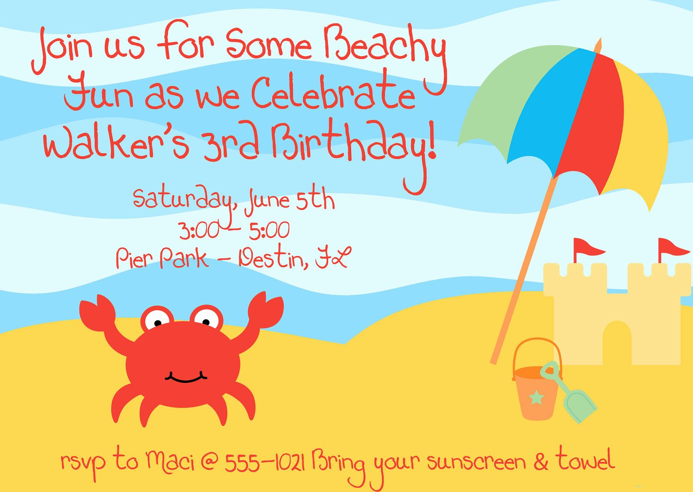 Beach Birthday Party Invitations Luxury Items Similar to Beach Crab Birthday Party Invitations Set
