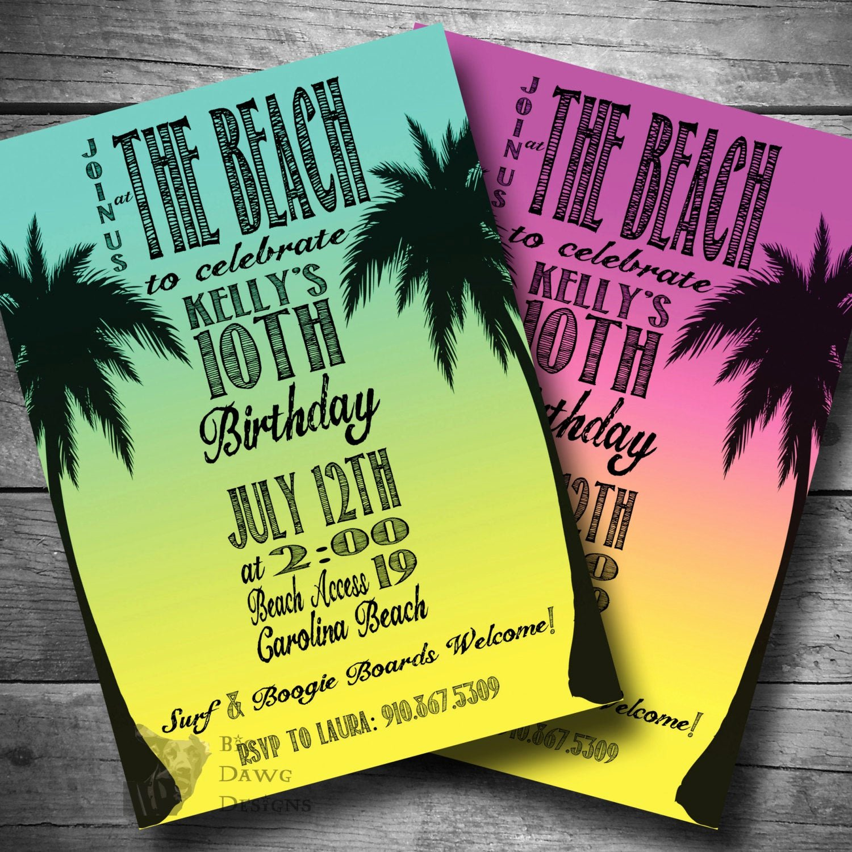 Beach Birthday Party Invitations New Beach Party Invitation Surfer Birthday Invite Luau