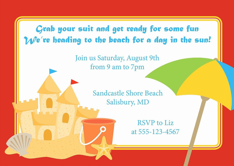 Beach Birthday Party Invitations Unique Beach Sandcastle Invitation Birthday Kid S Party