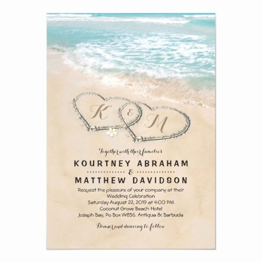 Beach Wedding Invitation Templates Awesome Tropical Vintage Beach Heart Shore Wedding Invitation