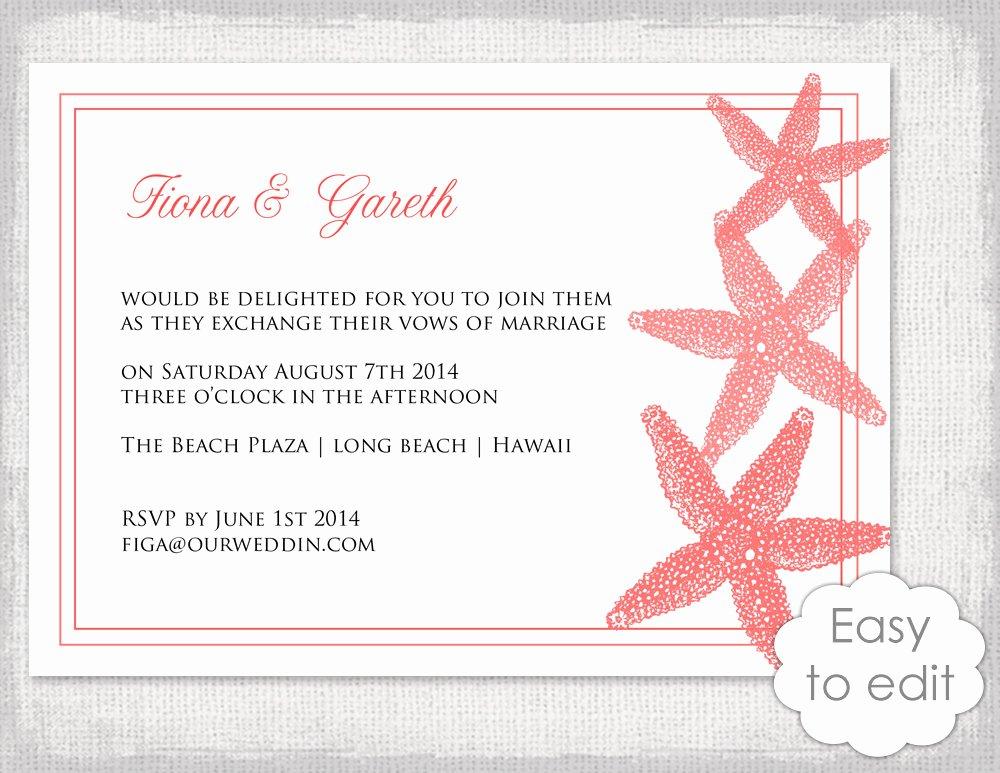 Beach Wedding Invitation Templates Elegant Printable Beach Wedding Invitation Template Deep Coral