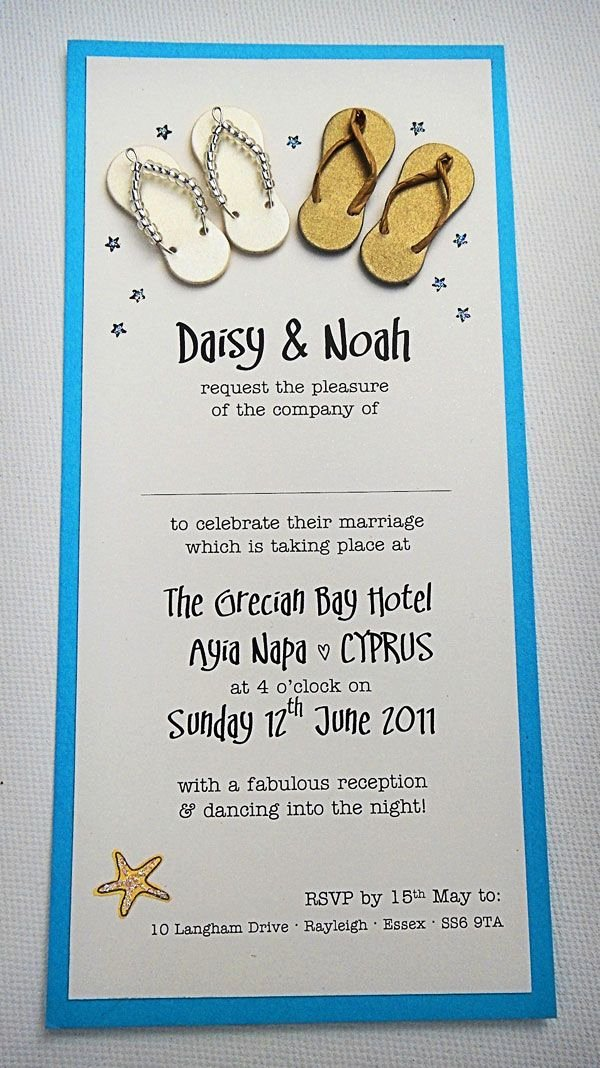 Beach Wedding Invitation Templates Fresh Beach and Seaside themed Wedding Invitation with Cute Little Handmade Male and Female Flip Flops