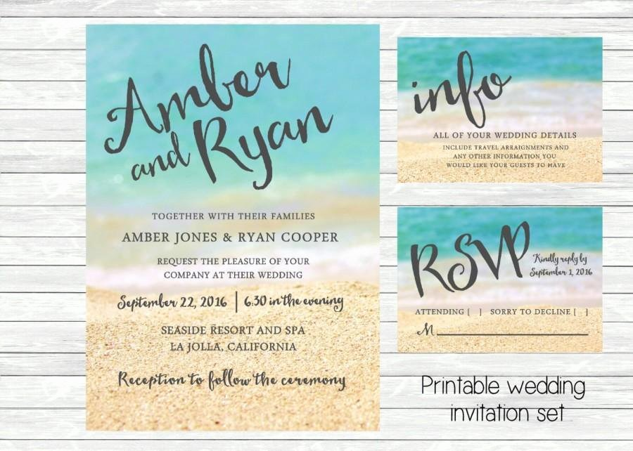 Beach Wedding Invitation Templates Lovely Beach Wedding Invitation