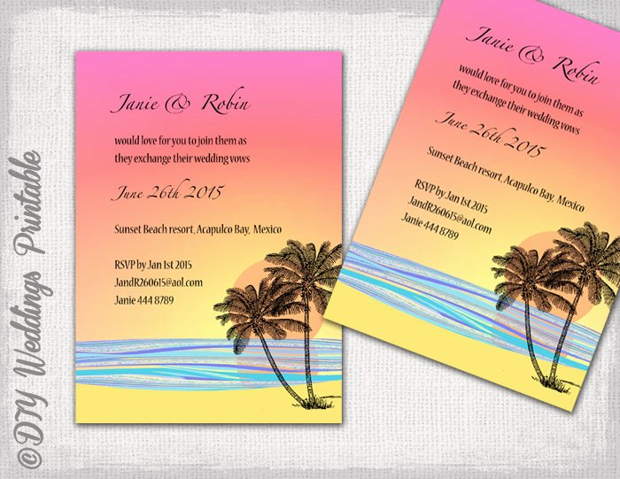 Beach Wedding Invitation Templates Lovely Diy Tropical Beach Wedding Invitations Template