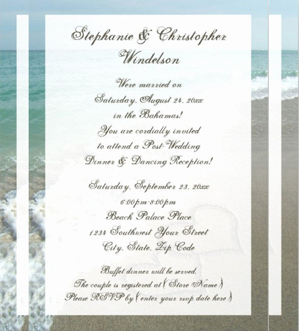 sample beach wedding invitation
