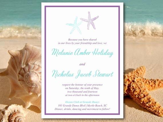 Beach Wedding Invitation Templates Luxury Beach Wedding Invitation Template Starfish Invitation