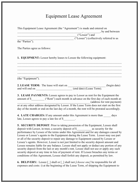 Beat Lease Contract Template Awesome Equipment Lease Agreement Template Download Printable Pdf
