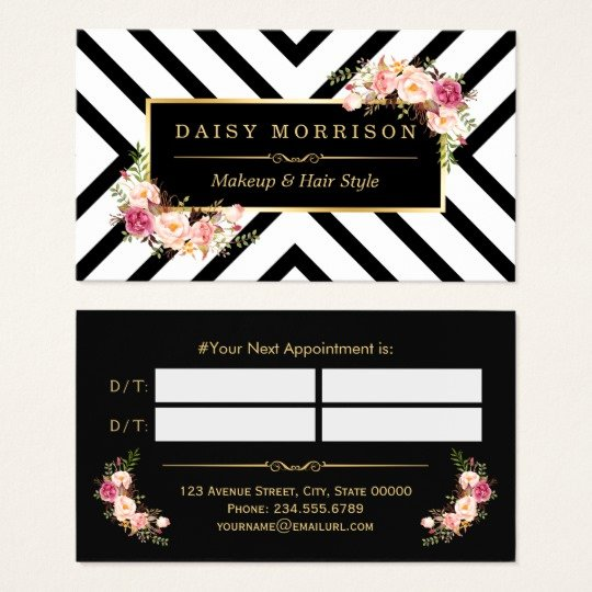 Beauty Salon Business Card Awesome Hair Stylist Beauty Salon Gold Floral Appointment Business Card
