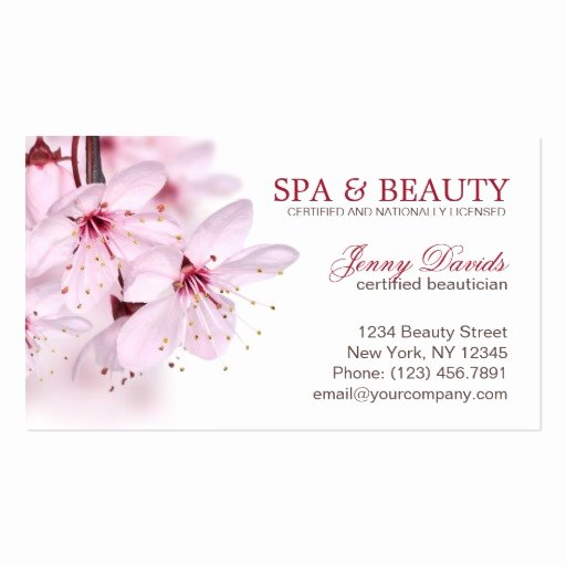Beauty Salon Business Card Elegant Pink Blossom Spa Massage Nail Beauty Salon Double Sided Standard Business Cards Pack 100