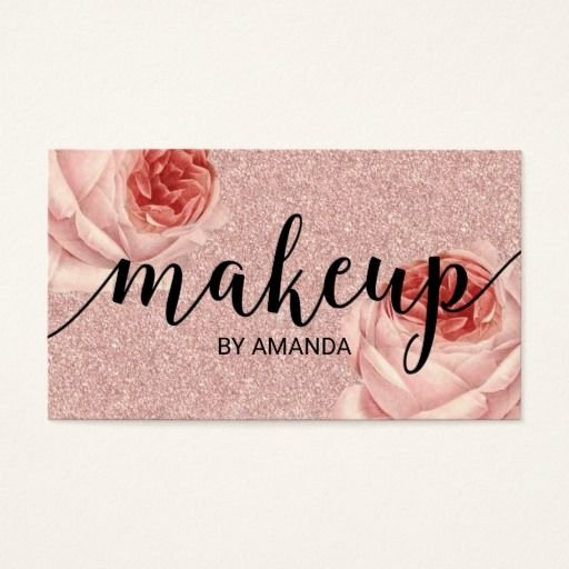 Beauty Salon Business Card Fresh Rose Gold Floral Makeup Artist Beauty Salon Business Card