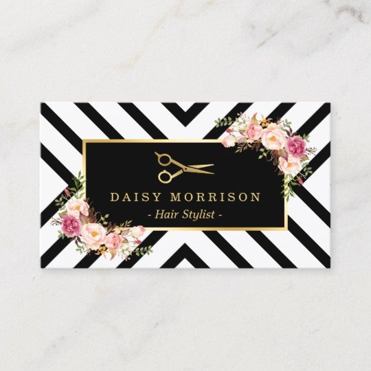 Beauty Salon Business Cards Luxury Gold Scissors Floral Hair Stylist Beauty Salon Business Card