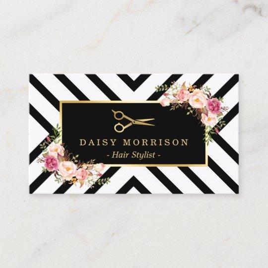 Beauty Salon Business Cards Luxury Gold Scissors Floral Hair Stylist Beauty Salon Business Card