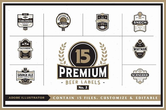 Beer Label Template Word Inspirational Premium Beer Labels No 2 Logo Templates Creative Market