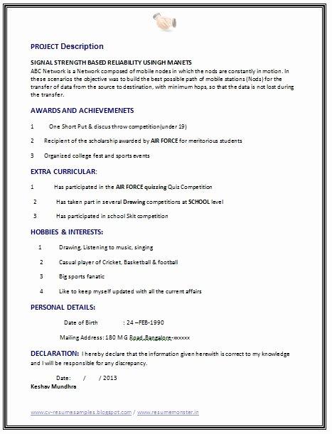 Best Computer Science Resume Elegant Fresher Puter Science Engineer Resume Sample Page 2 Career