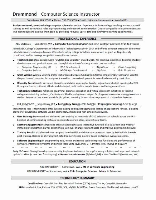 Best Computer Science Resume Fresh Puter Science Resume Sample