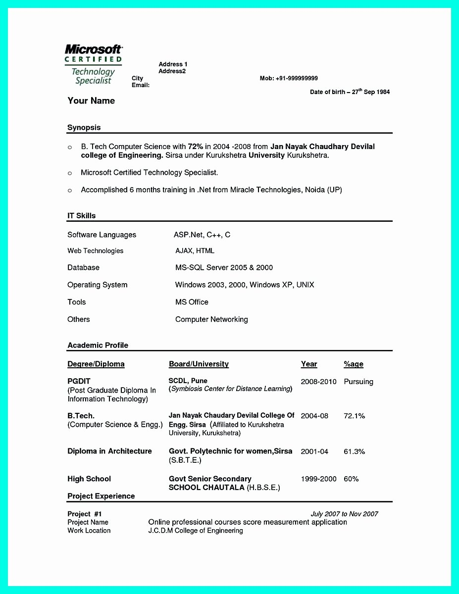 Best Computer Science Resume Fresh the Best Puter Science Resume Sample Collection