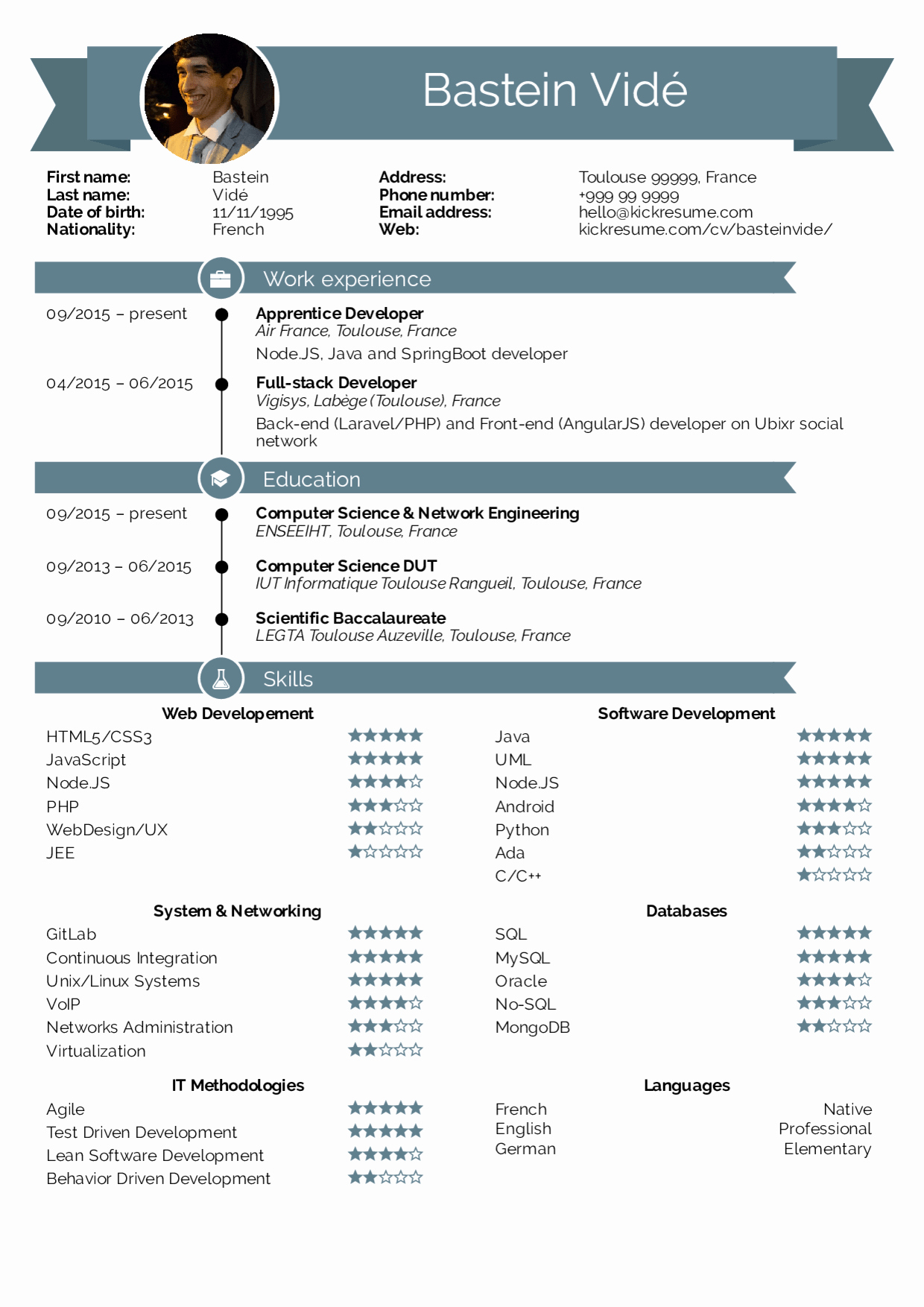 Best Computer Science Resume Inspirational Resume Examples by Real People Air France Full Stack Developer Resume Template