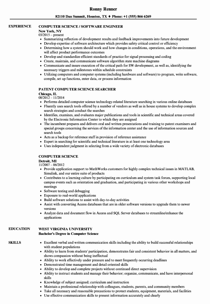 Best Computer Science Resume Lovely Puter Science Resume top 5 Advice