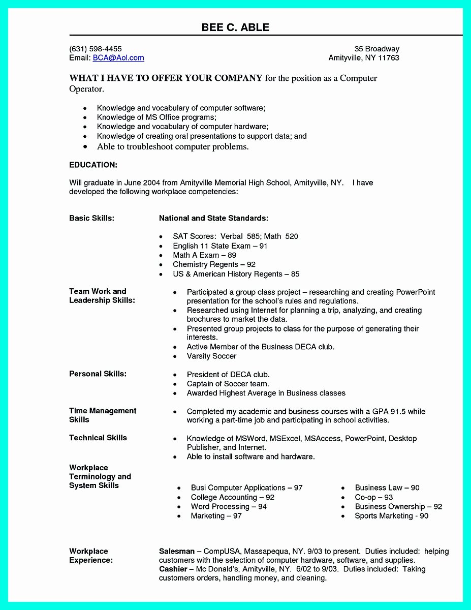 Best Computer Science Resume New the Best Puter Science Resume Sample Collection